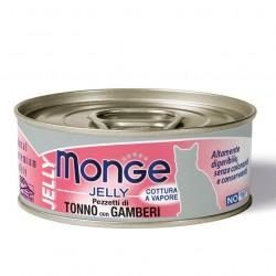 Pâtée Monge pour chat - morceaux de thon et crevettes 24x80grs